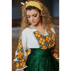 Romanian blouse - Camellia flower de la www.florideie.ro