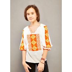 Romanian blouse for little girls - Orange Diamond de la www.florideie.ro