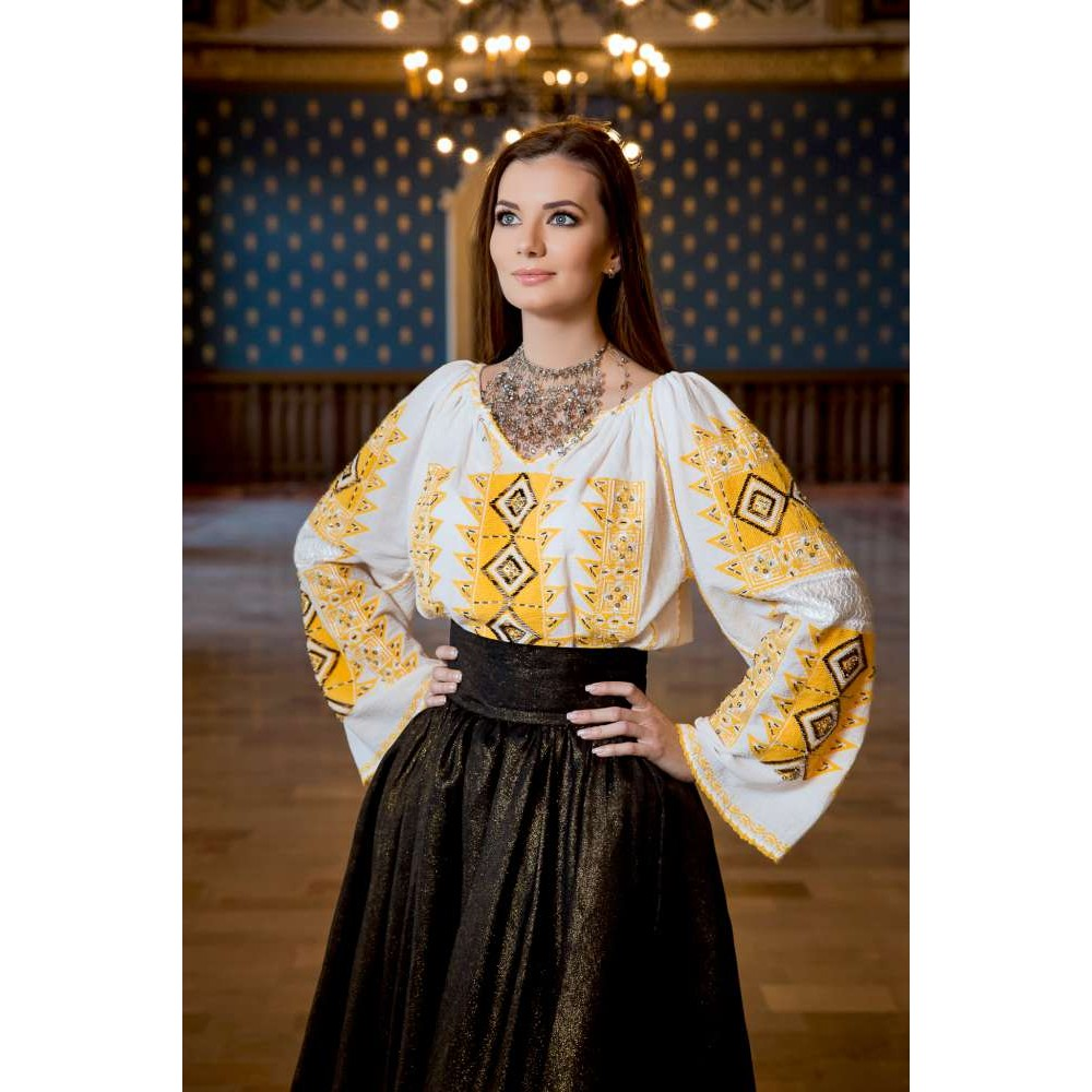 Diamond Romanian Blouse - Yellow de la www.florideie.ro